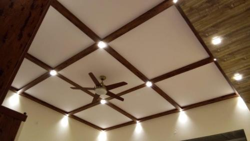 False ceiling with wooden strips